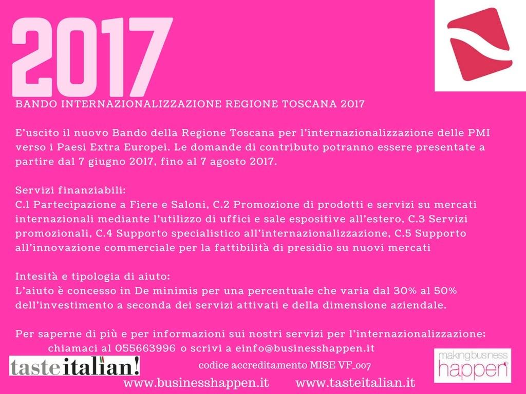 Bando Internazionalizzazione Regione Toscana 2017-4